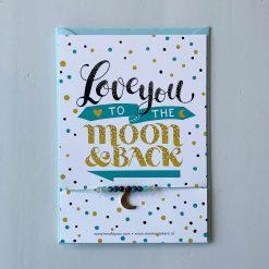 kaartje Love you to the moon met armbandje